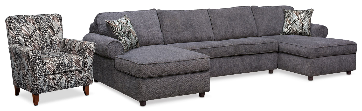 Lakelyn 3-Piece Sectional with 2 Chaises and Accent Chair - Charcoal