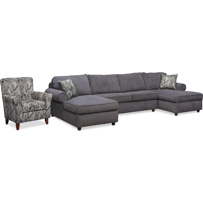 Living Room Furniture - Lakelyn 3-Piece Sectional with 2 Chaises and Accent Chair - Charcoal