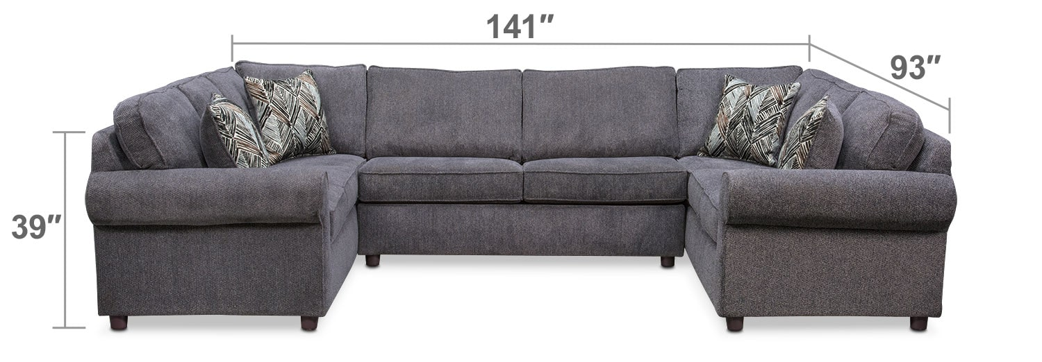 Living Room Furniture - Lakelyn 3-Piece Innerspring Sleeper Sectional - Charcoal