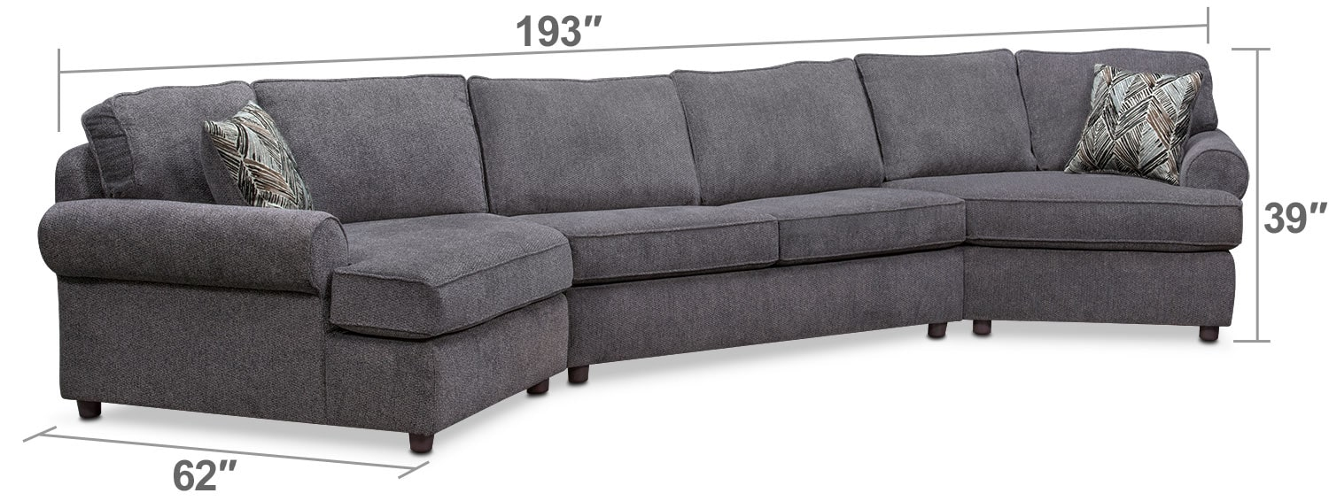 Living Room Furniture - Lakelyn 3-Piece Innerspring Sleeper Sectional with 2 Cuddlers - Charcoal