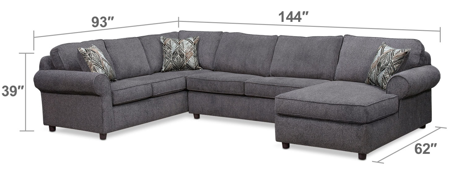 Living Room Furniture - Lakelyn 3-Piece Sectional with Right-Facing Chaise - Charcoal