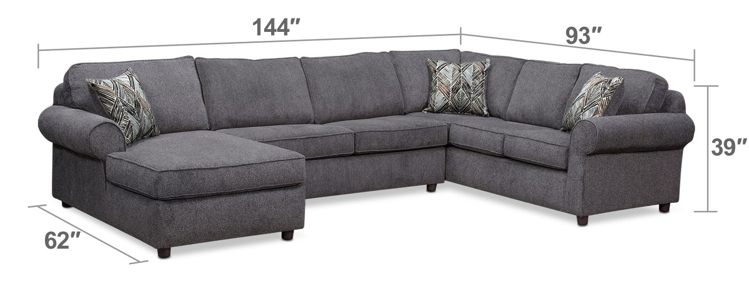 Living Room Furniture - Lakelyn 3-Piece Sectional with Left-Facing Chaise - Charcoal