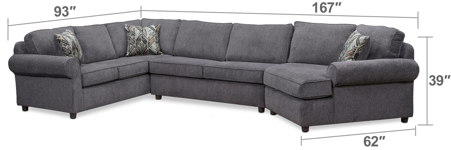 Living Room Furniture - Lakelyn 3-Piece Memory Foam Sleeper Sectional w/ Right-Facing Cuddler - Charcoal