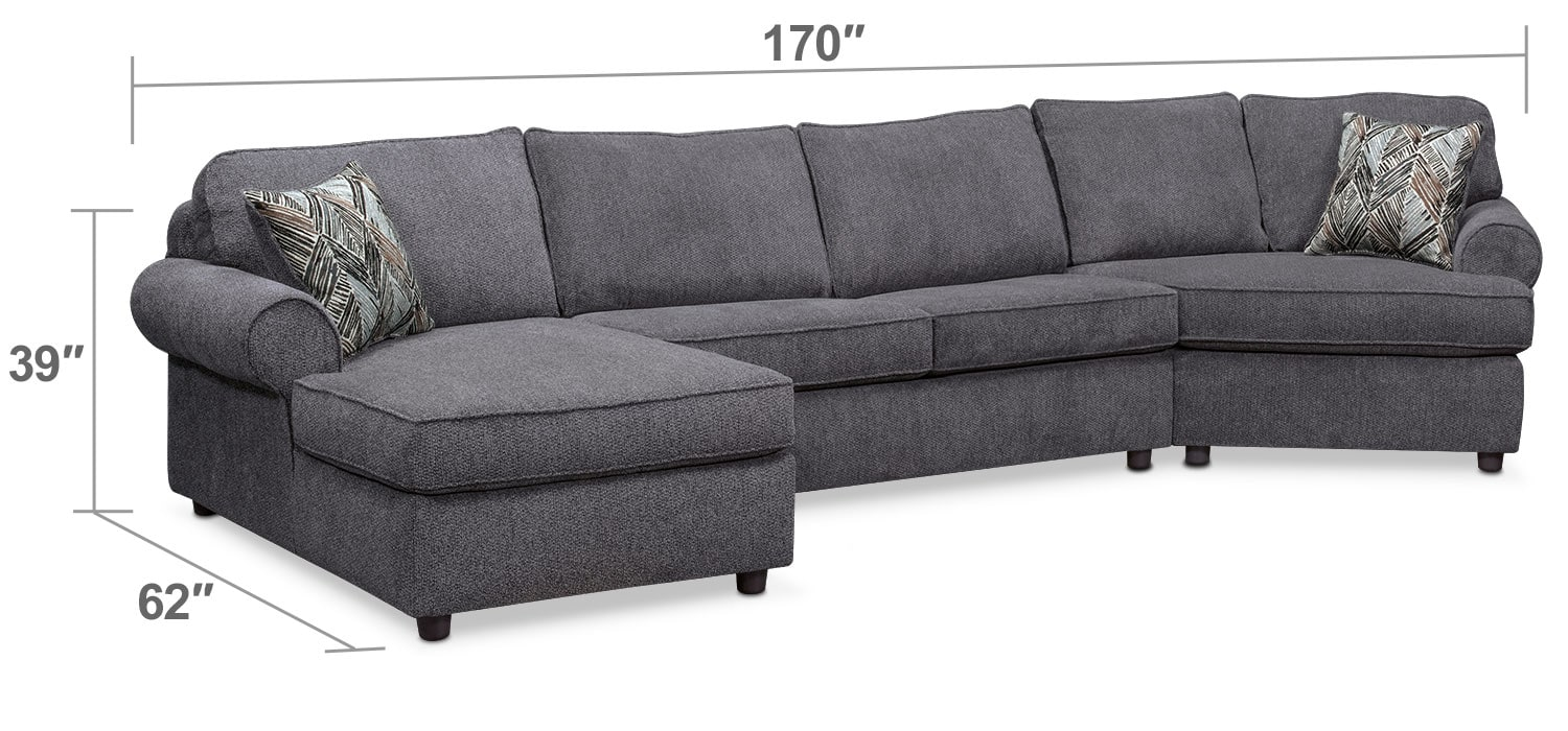 Living Room Furniture - Lakelyn 3-Piece Memory Foam Sleeper Sectional w/ Left-Facing Chaise, Right-Facing Cuddler - Charcoal