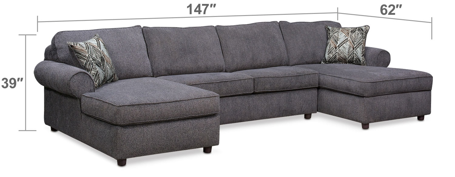 Living Room Furniture - Lakelyn 3-Piece Memory Foam Sleeper Sectional with 2 Chaises - Charcoal