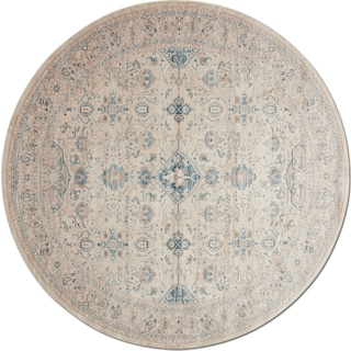 Ella Rose 9' Round Rug - Bone