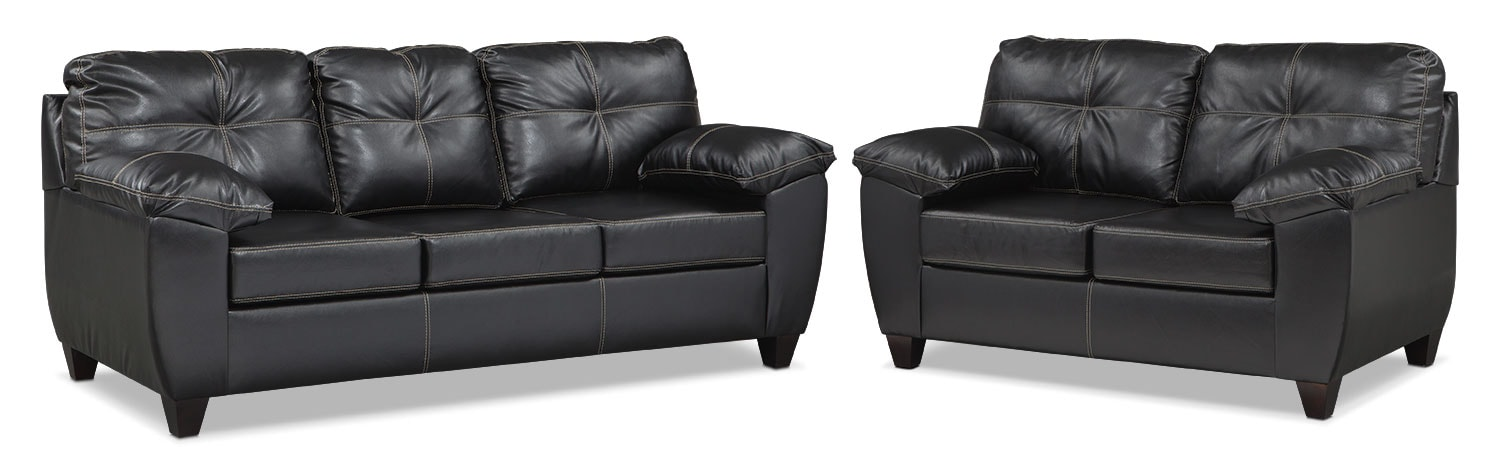 Rialto Queen Memory Foam Sleeper Sofa and Loveseat Set - Onyx
