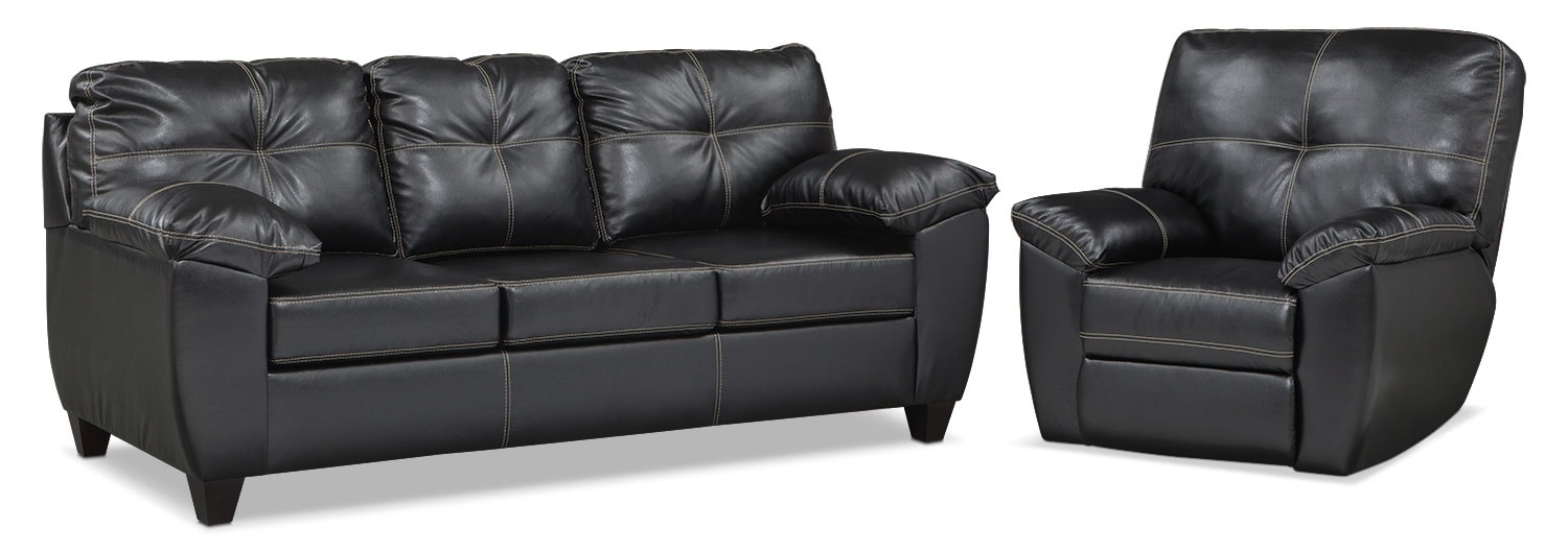 Living Room Furniture - Rialto Queen Memory Foam Sleeper Sofa and Glider Recliner Set - Onyx