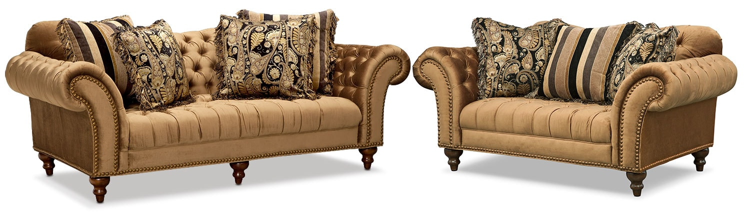 Living Room Furniture - Brittney Sofa and Loveseat Set - Bronze