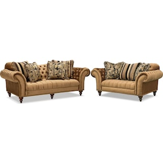 Brittney Sofa and Loveseat Set - Bronze