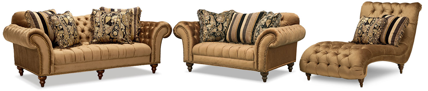 Brittney Sofa Loveseat and Chaise Set - Bronze  sc 1 st  American Signature Furniture : american signature chaise - Sectionals, Sofas & Couches