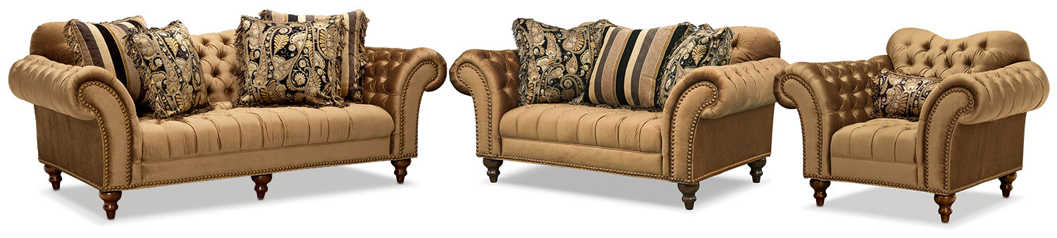 Brittney Sofa Loveseat And Chair Set Bronze American