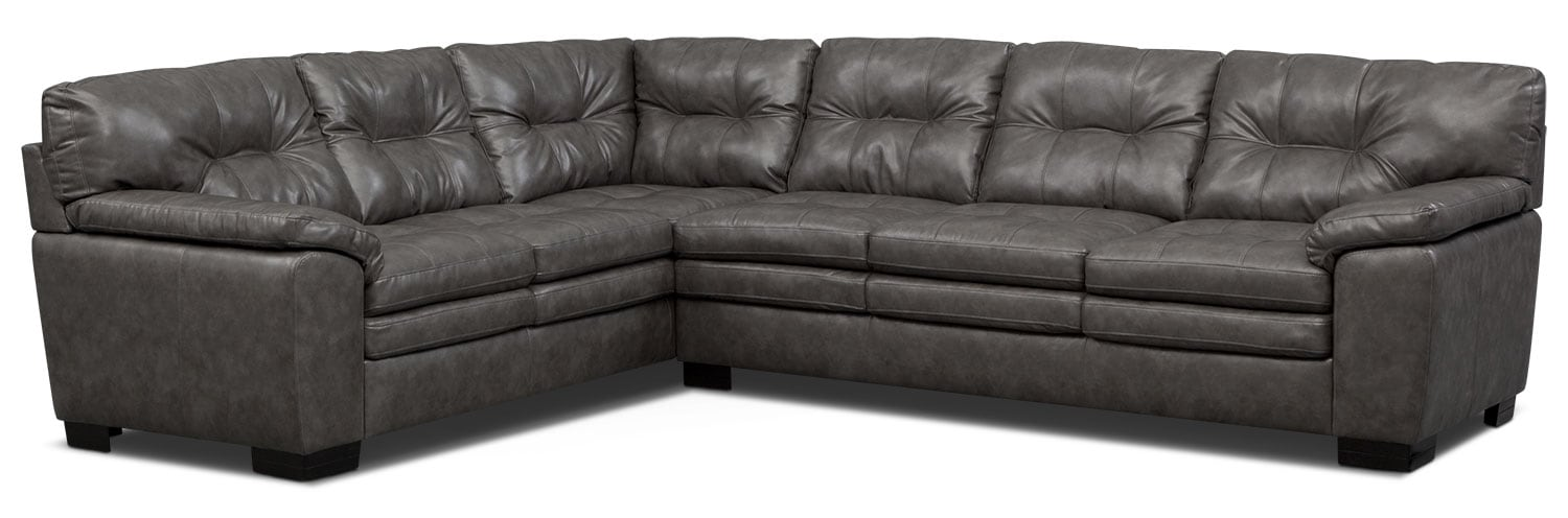 Living Room Furniture   Magnum 2 Piece Sectional   Gray