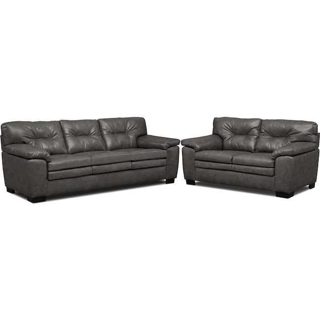 Living Room Furniture - Magnum Sofa and Loveseat Set - Gray