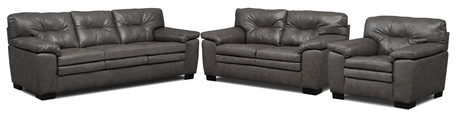 Magnum Sofa, Loveseat and Chair Set - Gray