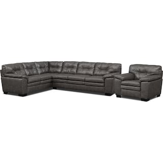 Magnum 2-Piece Sectional and Chair Set - Gray