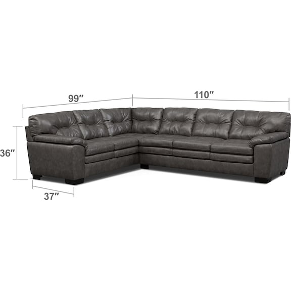 Living Room Furniture - Magnum 2-Piece Sectional - Gray