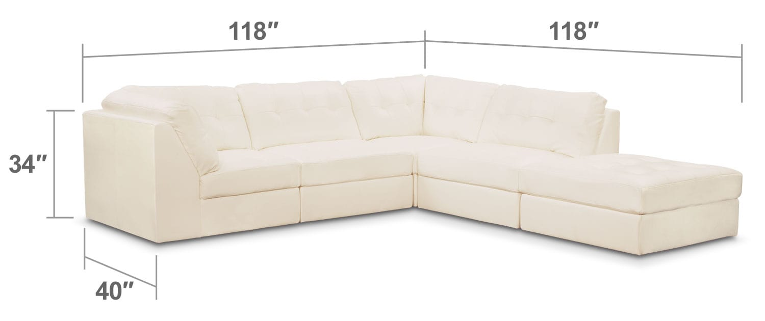 Living Room Furniture - Cayenne 5-Piece Modular Sectional - White