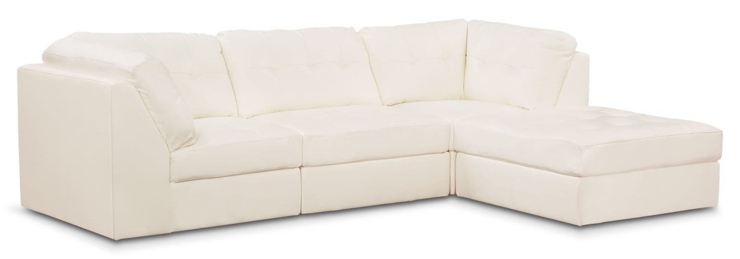 Living Room Furniture - Cayenne 4-Piece Modular Sectional - White