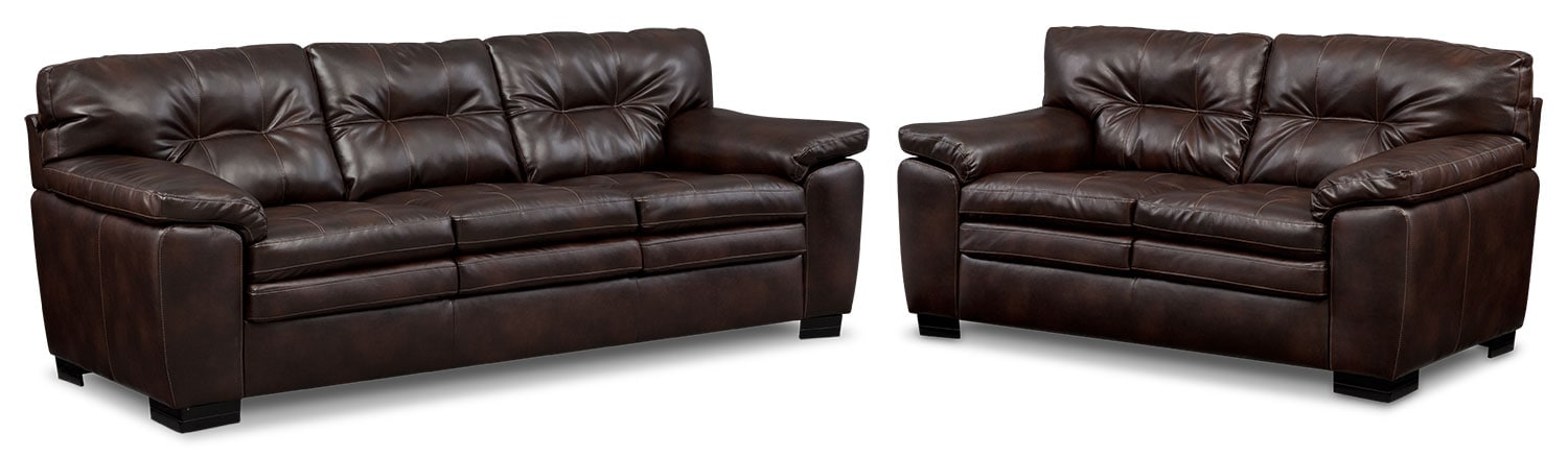 Living Room Furniture - Magnum Sofa and Loveseat Set - Brown