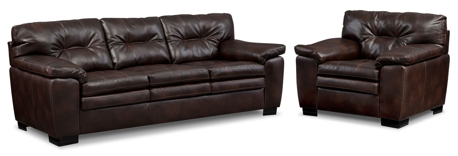 Living Room Furniture - Magnum Sofa and Chair Set - Brown