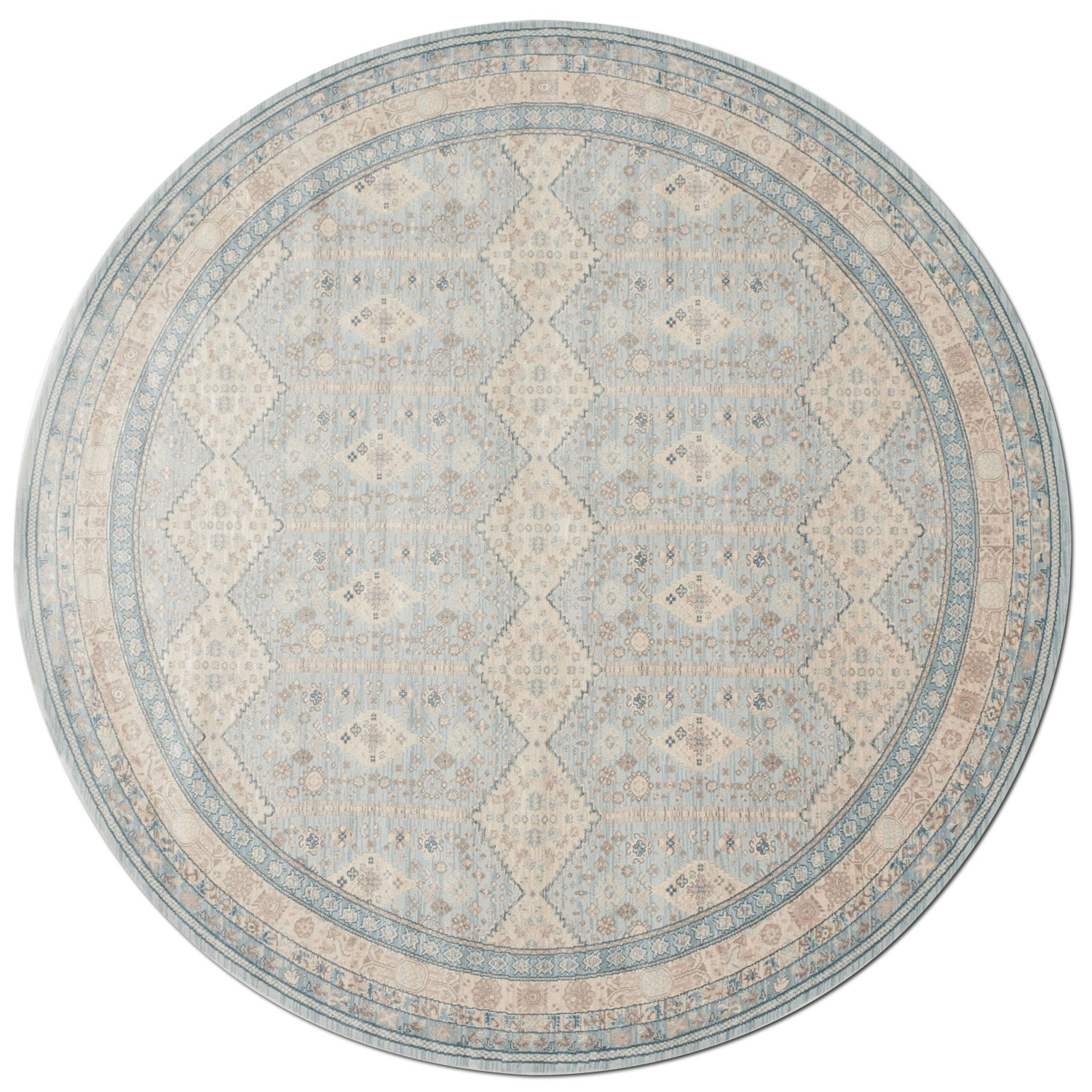 Ella Rose 8' Round Rug - Mist and Stone