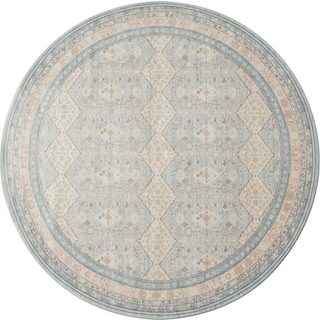 Ella Rose 9' Round Rug - Mist and Stone