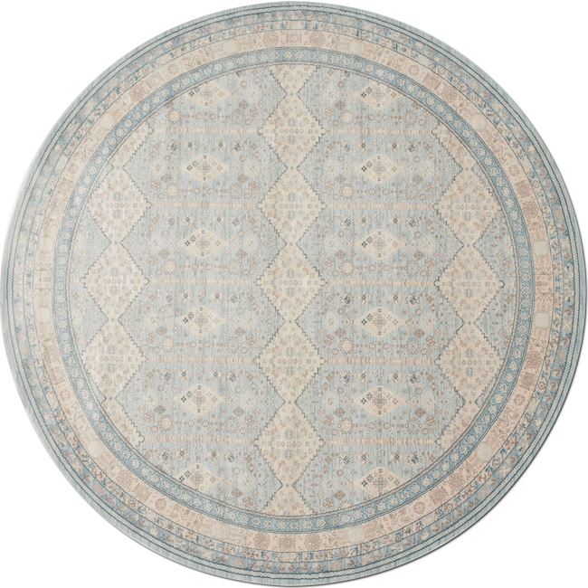 Rugs - Ella Rose 8' Round Rug - Mist and Stone