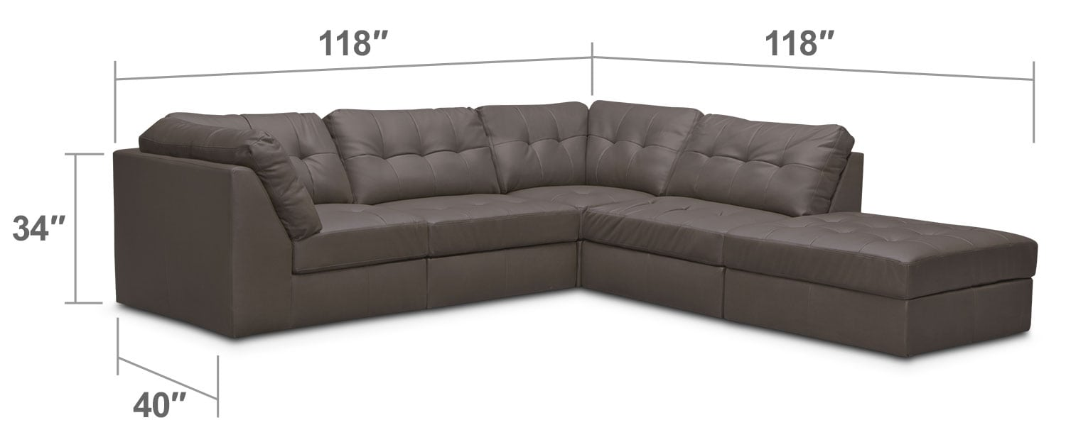 Living Room Furniture - Cayenne 5-Piece Modular Sectional - Gray
