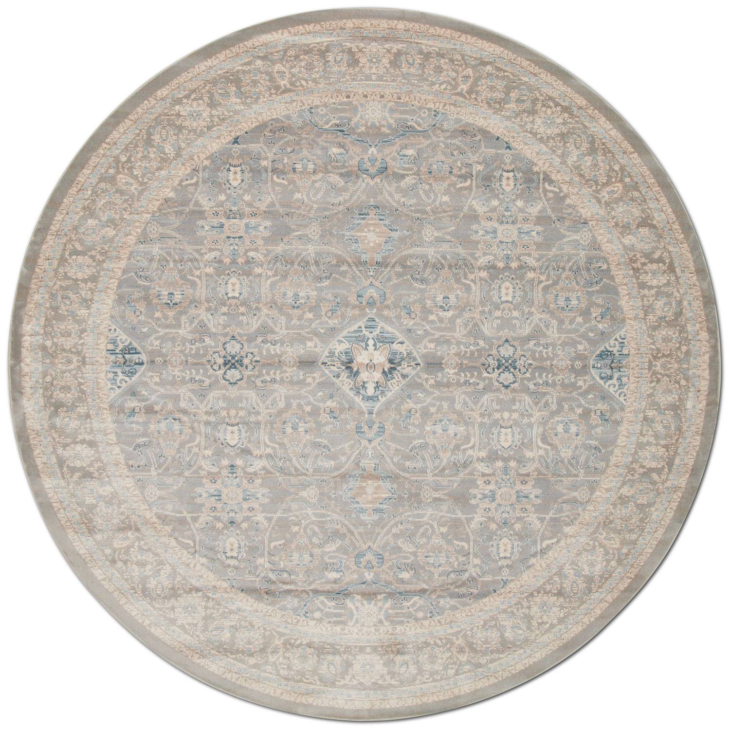 Rugs - Ella Rose 9' Round Rug - Steel