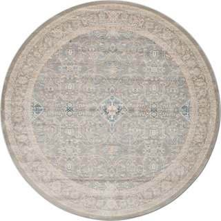 Ella Rose 9' Round Rug - Steel