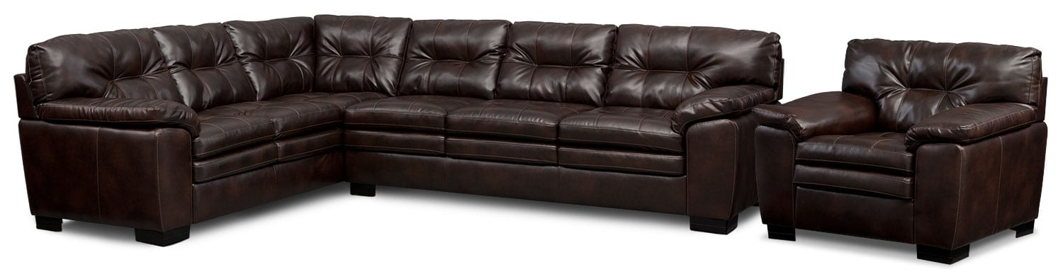 Living Room Furniture - Magnum 2-Piece Sectional and Chair Set - Brown
