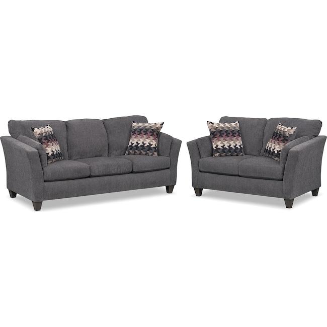 Living Room Furniture - Juno Queen Innerspring Sleeper Sofa and Loveseat Set - Smoke