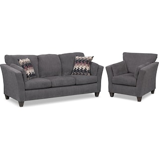 Juno Queen Innerspring Sleeper Sofa and Chair Set - Smoke