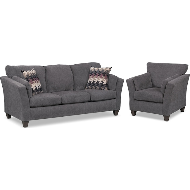 Living Room Furniture - Juno Queen Innerspring Sleeper Sofa and Chair Set - Smoke