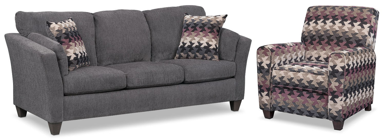 Juno Queen Innerspring Sleeper Sofa and Push-Back Recliner Set - Smoke