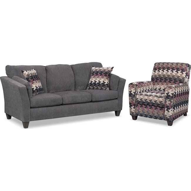 Living Room Furniture - Juno Queen Innerspring Sleeper Sofa and Push-Back Recliner Set - Smoke