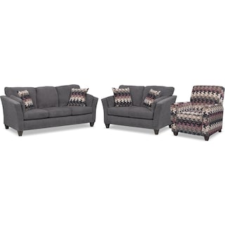 Juno Sofa, Loveseat and Push-Back Recliner Set - Smoke