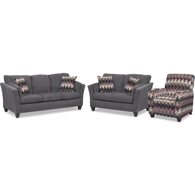 Living Room Furniture - Juno Queen Innerspring Sleeper Sofa, Loveseat and Push-Back Recliner Set - Smoke