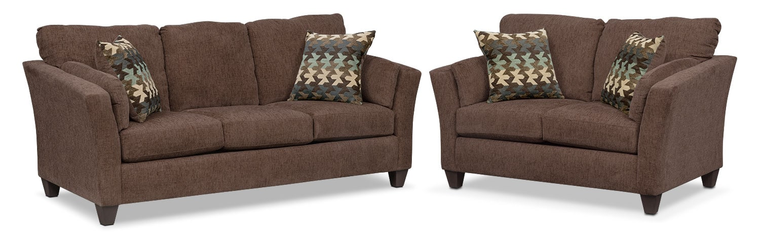 Living Room Furniture - Juno Queen Innerspring Sleeper Sofa and Loveseat Set - Chocolate