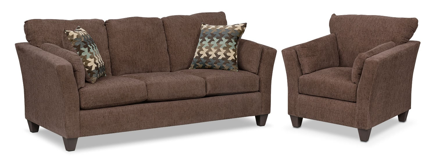 Living Room Furniture - Juno Queen Memory Foam Sleeper Sofa and Chair Set - Chocolate