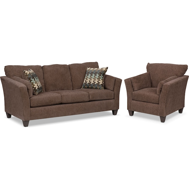 Living Room Furniture - Juno Sofa and Chair Set - Chocolate