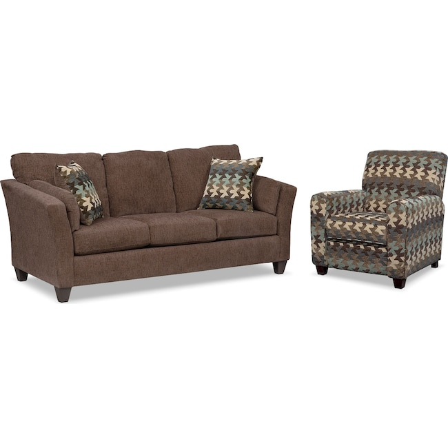 Living Room Furniture - Juno Sofa and Push-Back Recliner Set - Chocolate