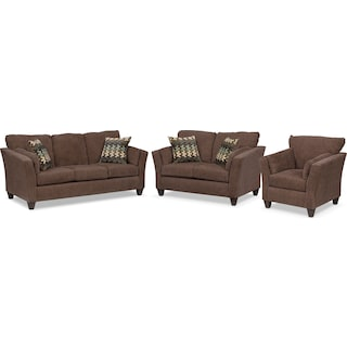 Juno Queen Memory Foam Sleeper Sofa, Loveseat and Chair Set - Chocolate