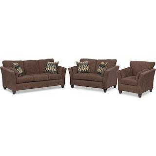 Juno Sofa, Loveseat and Chair Set - Chocolate