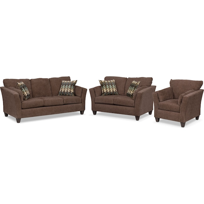 Living Room Furniture - Juno Queen Innerspring Sleeper Sofa, Loveseat and Chair Set - Chocolate