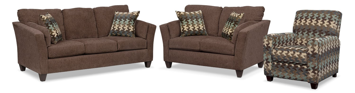 Living Room Furniture - Juno Queen Memory Foam Sleeper Sofa, Loveseat and Push-Back Recliner Set - Chocolate