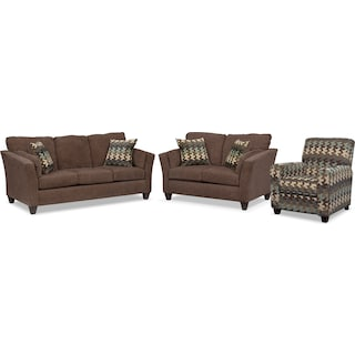 Juno Queen Innerspring Sleeper Sofa, Loveseat and Push-Back Recliner Set - Chocolate