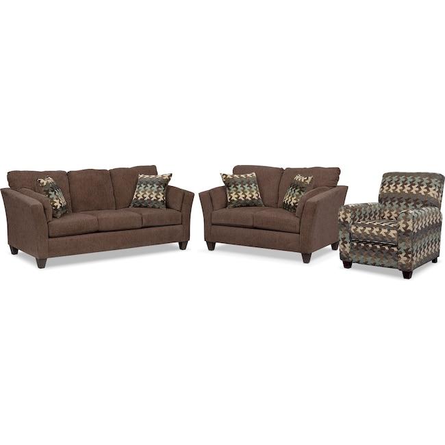 Living Room Furniture - Juno Queen Innerspring Sleeper Sofa, Loveseat and Push-Back Recliner Set - Chocolate