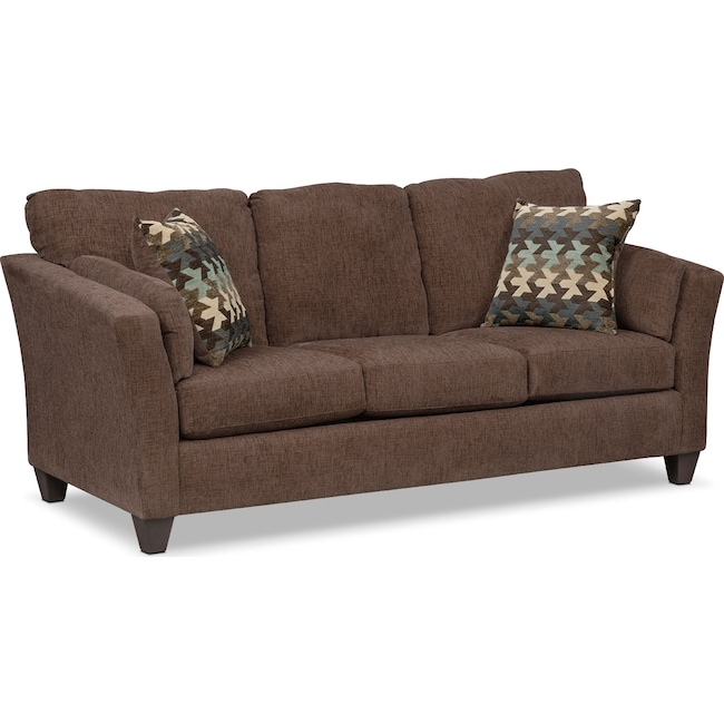 Living Room Furniture - Juno Queen Innerspring Sleeper Sofa - Chocolate